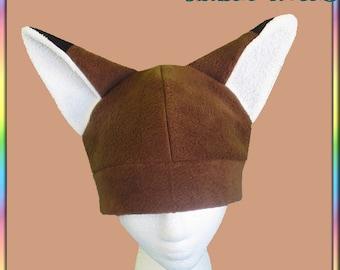 Brown Fox Hat - Fleece White Black Kitsune Anime Cute Kawaii Animal Ears Cosplay Geek Animal Clothing Adult Teen Child