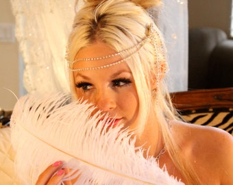 GREAT GATSBY Diamond Headdress, Diamond Headband, Deco Headdress by VegasVeils. Ready To Ship.