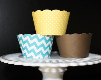 Turquoise chevron stripe  and Yellow polka dot cupcake wrappers