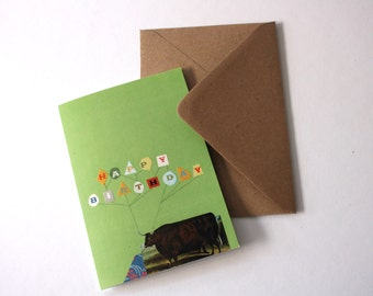 SALE - SEL - Birthday Bull Green Geometric Eco Friendly Art Greeting Card