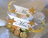 Gold Glitter Wedding Seat Signs - Mr. and Mrs. - Vintage Inspired Moon And Stars