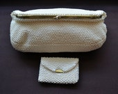 Vintage Ivory Beaded Clutch w/ coin purse