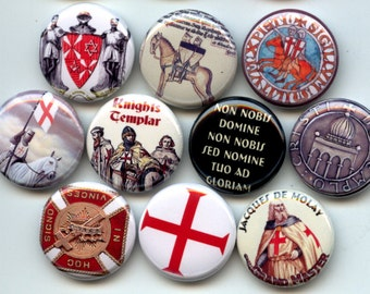 Knights Templar medieval Masonic set of 10 Fridge Magnets one inch round
