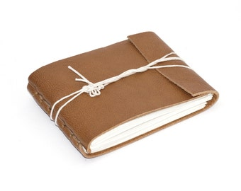"Leather Journal or Leather Sketchbook, Gloss Caramel, Pocket Sized, Handbound Coptic Stitch - 2 3/4"" x 3 3/4"""