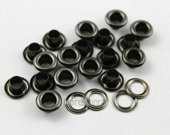 200Pcs 9mm Gunmetal  Round Grommet Eyelet (GRG09)