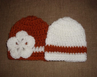 Boy/Girl Twin Baby Burnt Orange and White Crochet Hats/Beanies, UT, Longhorn, Univ. of Texas
