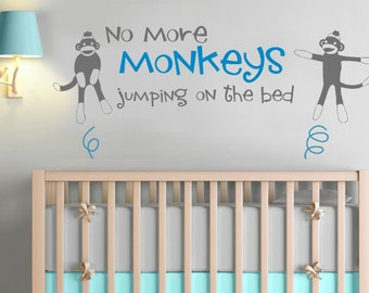 No More Sock Monkeys Jumping on the Bed Kids Vinyl Wall Decal Sticker