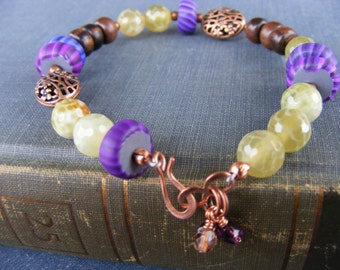 Peel Me A Grape Bracelet:  Purple Gypsy Swirl Beads with Rich Wood and Faceted Lime Green Fire Agate and Copper Floral Beads