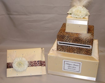 Elegant Custom Made Card Box-Guest Book &Pen set-animal print theme