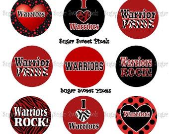 INSTANT DOWNLOAD Warriors  2  School Mascot 1 inch Circle Bottlecap Images 4x6 sheet
