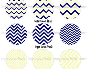 INSTANT DOWNLOAD Navy PASTEL Yellow Chevron blank   1inch Circle Bottlecap Images 4x6 sheet