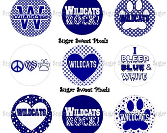 INSTANT DOWNLOAD Blue & White Wildcats School Mascot 1 inch circle DIgital Bottlecap Images