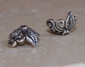 Leaves and Vine Bead Caps Bali Sterling Silver 2 pcs Fancy Designer Quality