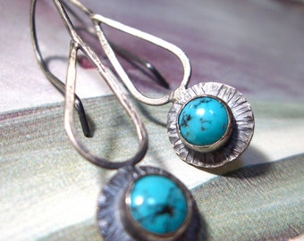 Turquoise Rain Dance Earrings // Sterling Silver and Turquoise