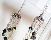 Jet Black Swarovski Crystal Waterfall Earrings