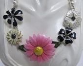 Enamel Flower Statement Necklace , Floral Statement Bib Necklace,Multi Color Flower Necklace