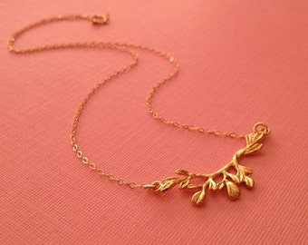 Branch Necklace in Gold -Gold Branch Necklace -Gold Nature Necklace