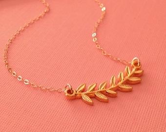 Laurel Necklace in Gold -Gold Laurel Branch Necklace -Laurel Necklace
