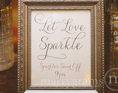 Let Love Sparkle Sign - Sparkler Send Off Sign - Table Card Sign - Wedding Reception Seating Signage - Matching Numbers Available SS01