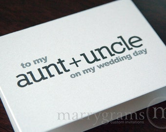 Wedding Card to Your Aunt and Uncle -- Family of the Bride or Groom Cards - Gift for Aunt and Uncle - On My Wedding Day Thank You Note