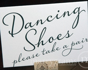 Dancing Shoes Wedding Sign - Flip Flops Basket Sign -Wedding Reception Seating Signage - Matching Numbers SS03