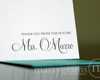 Custom Future Mrs. Bridal Shower Thank You Cards - Wedding Shower - Unique Cute Thank You Notes - Elegant, Pink, Purple - Shower Gift Idea