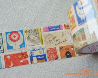 Vintage Stamps - Translucent Wide Sticker Tape - 16 Yards