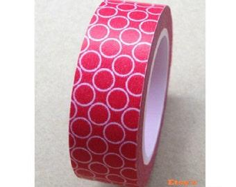 Japanese Washi Masking Tape - White Circle with Red - 11 Yards