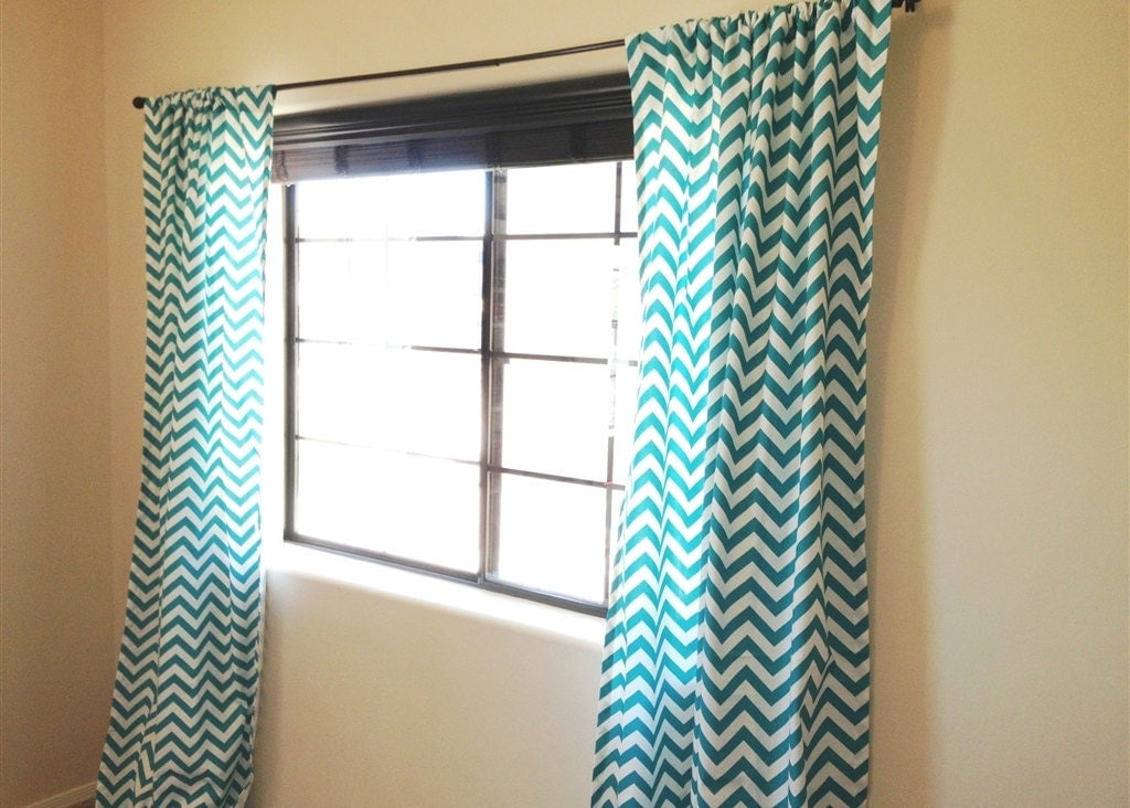 Turquoise chevron curtain panels 50x63 50x84 by - White and turquoise curtains ...