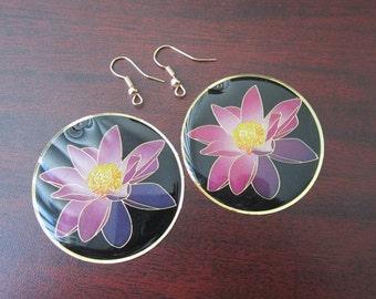 2 Pcs - Gold Plated Over Copper Lotus Flower Earring Findings,Pendant,Earrings,Jewelry Findings,Links (45MM) SL0959