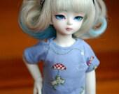 YoSD Littlefee Teenie Gem Blue Umbrella Cat T Shirt For BJD