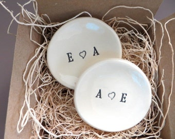 ring dish, Monogram wedding ring holders, Set of 2, You plus Me,  initial tray,  White,  Gift Boxed, Made to Order