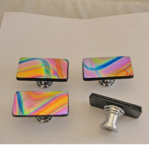 Dichroic Fused Glass Knob Colorful Cabinet Knobs Pulls