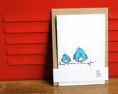 Bluebirds, Silkscreen Card with Envelope