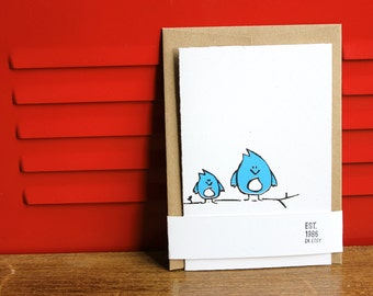 Bluebirds, Silkscreen Card with Envelope
