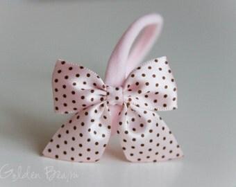SALE - Satin Bow Headband - Satin Soft Pink with Brown Polka Dot Side Bow Handmade Baby to Adult Headband