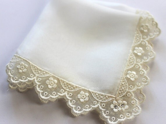 Baroness of Ivory - Couture Bride Hanky in Natural Silk, Embroidery Lace & Swarovski Crystals, Bridal Shower Gift, Mother of the Bride Gift