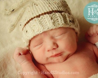 Newborn Knot Top--Bringing Home Baby Knit Beanie-White Tweed with brown stripe