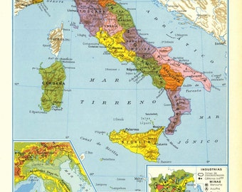 Vintage Map of Italy, 1950s Political Division, Relief Map, Agriculture, Industry