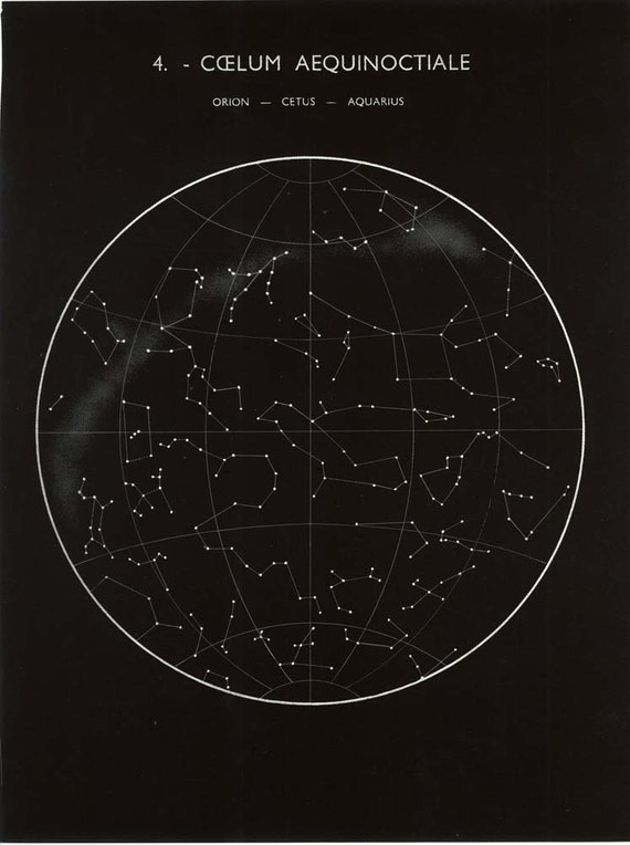 Constellations Map: Orion, Cetus and Aquarius, Equinox, Sky Astronomy ...