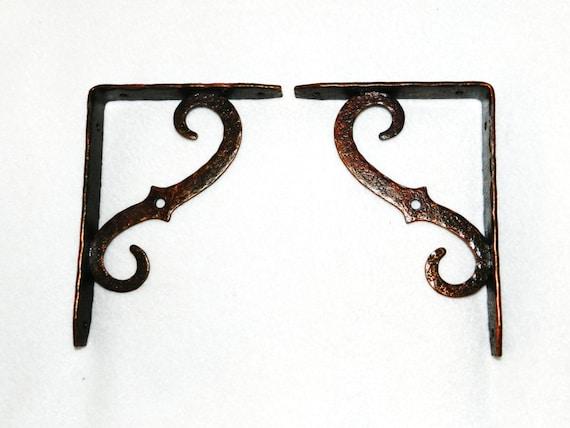 Vintage Brass / Copper Shelf Brackets Made By
