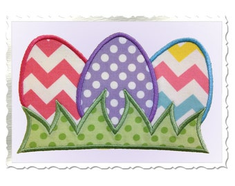 Easter Eggs In Grass Applique Machine Embroidery Design - 3 Sizes
