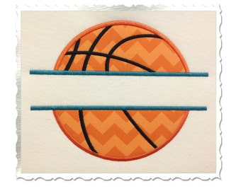 Split Basketball Applique Machine Embroidery Design - 4 Sizes