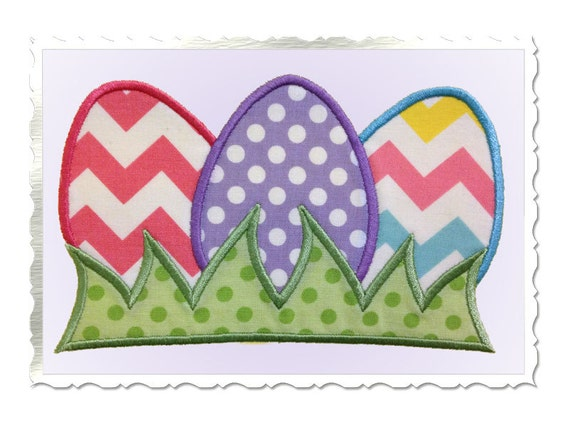 Easter eggs in grass applique machine embroidery design