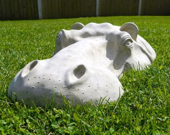 "Hippopotamus, Hippo Head, Garden Sculpture, 22"" Long Garden Ornament, Easter Gift, Mother's Day"