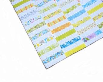 Baby quilt, boy quilt, crib quilt, playmat, patchwork throw - gender neutral - Central Park fabric, green blue yellow orange