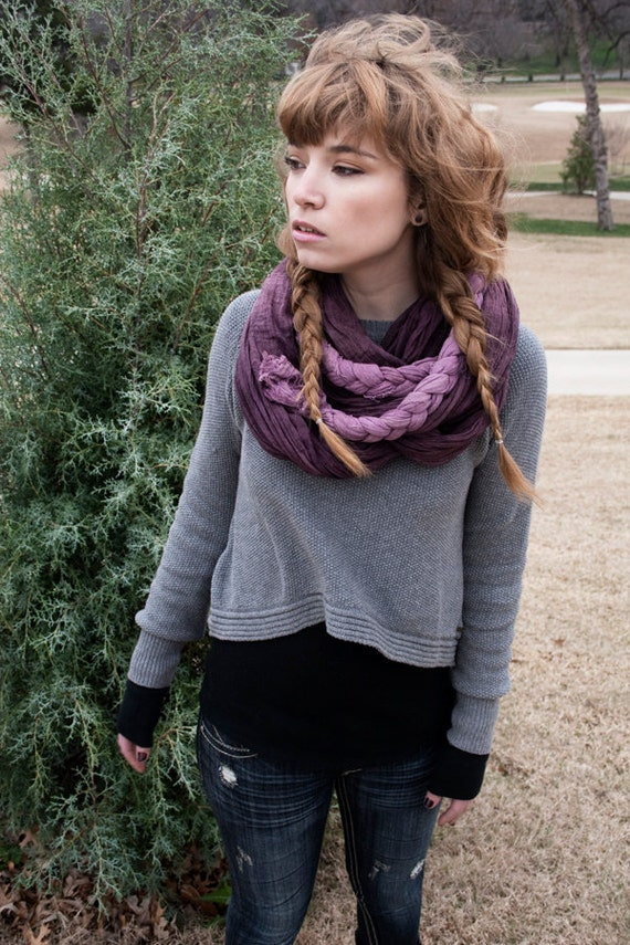 Ombre Braided Plum Scarf