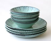 Stoneware Dinnerware Set - 8 Peices - Aqua Mist - Deep Salad Dinner Plate and Bowl - French Country - BackBayPottery