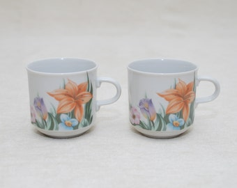 Vintage Mugs: Spring Floral Design - Beautiful Colors, Czechoslovakian Made, C Style Handle, Small Tea Cups, Great to Display or Use