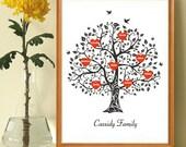 Personalized Family Tree Art Print, Family Tree Wall Art, Gift for Grandma, Anniversary gift